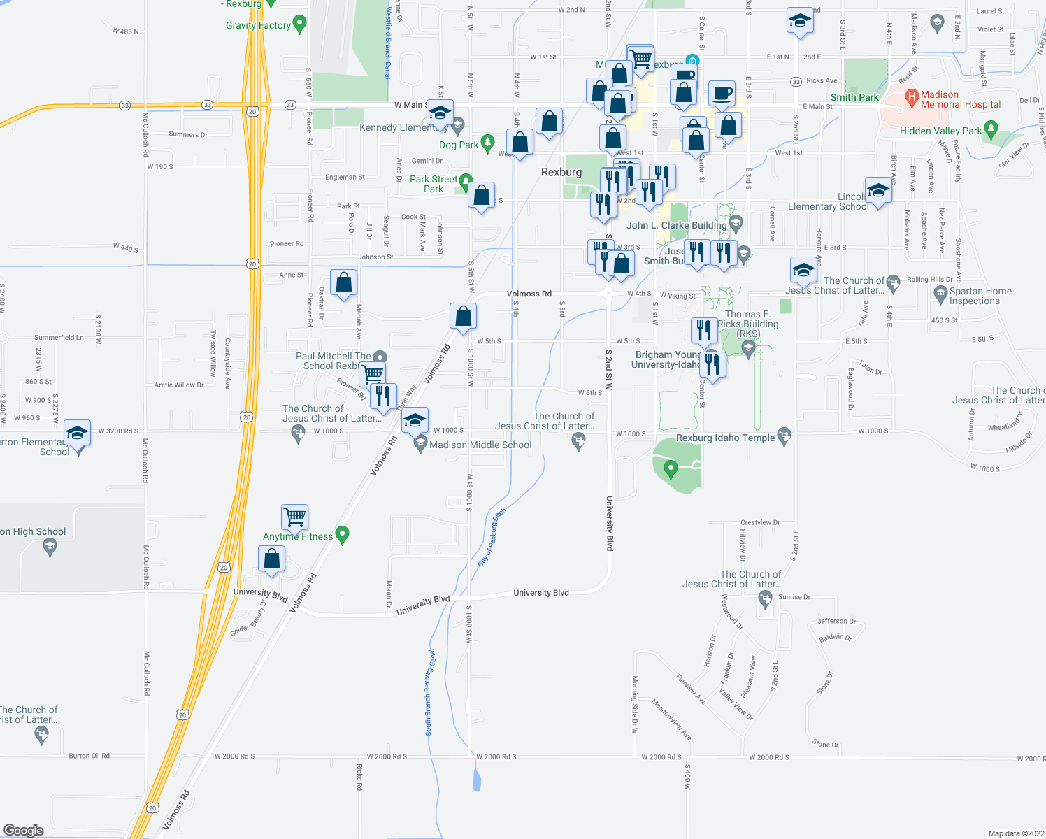 map of restaurants, bars, coffee shops, grocery stores, and more near 370 West 7th South in Rexburg