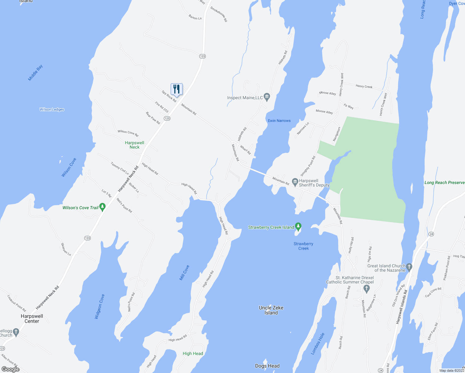 map of restaurants, bars, coffee shops, grocery stores, and more near 56 Old Dunning Road in Harpswell