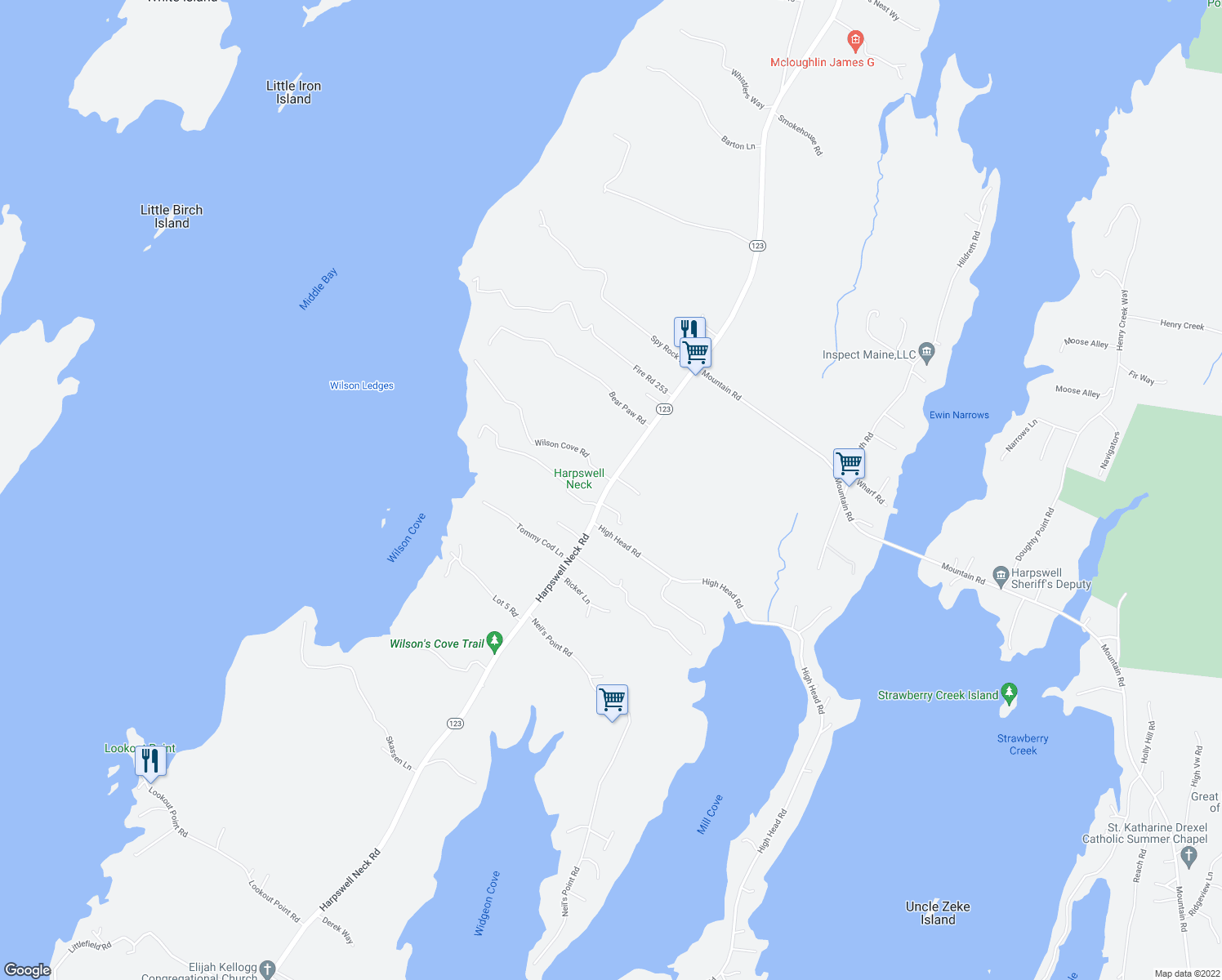 map of restaurants, bars, coffee shops, grocery stores, and more near 597 Harpswell Neck Road in Harpswell