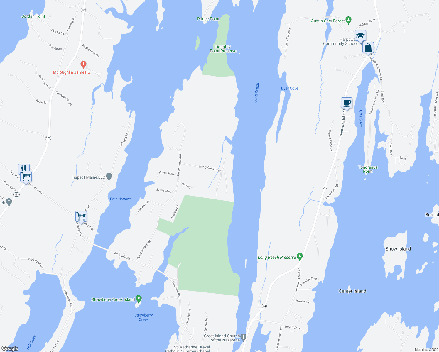 map of restaurants, bars, coffee shops, grocery stores, and more near 84 Henry Creek Way in Harpswell
