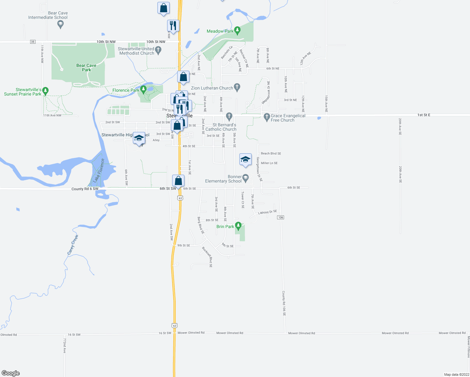 map of restaurants, bars, coffee shops, grocery stores, and more near 5th Avenue Southeast in Stewartville