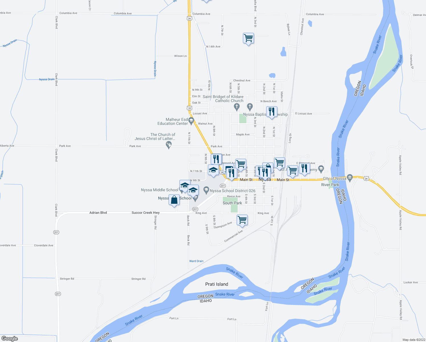 map of restaurants, bars, coffee shops, grocery stores, and more near 810 Bower Avenue in Nyssa