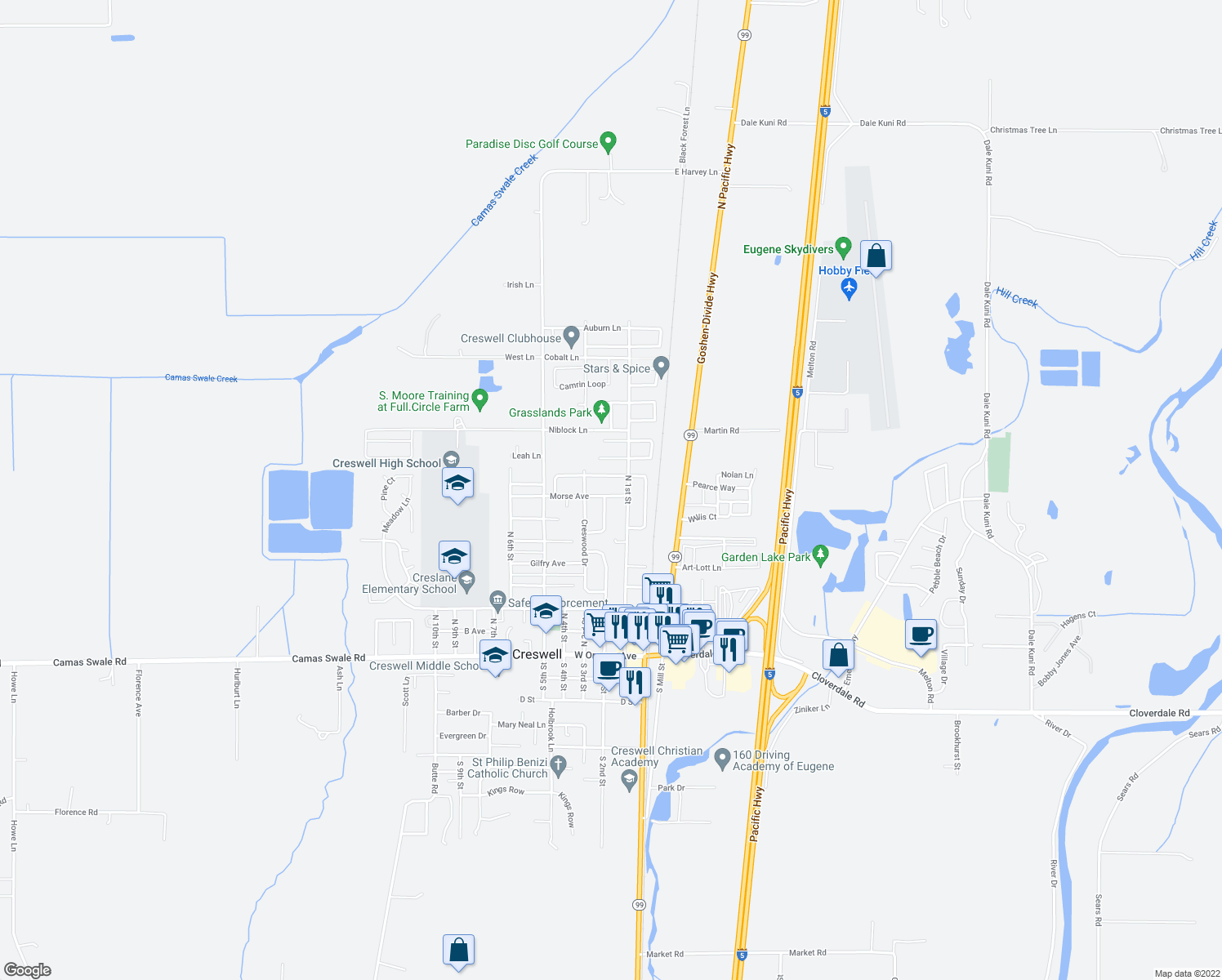 map of restaurants, bars, coffee shops, grocery stores, and more near 191 Blue Jay Loop in Creswell