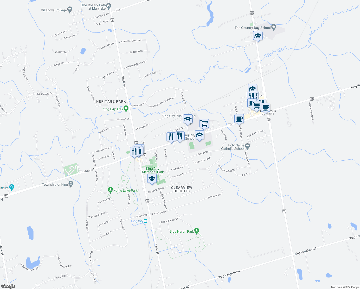 map of restaurants, bars, coffee shops, grocery stores, and more near 2075 King Road in King City
