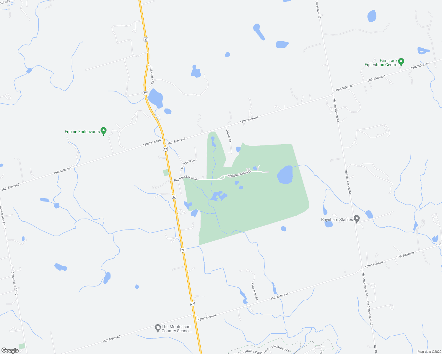 map of restaurants, bars, coffee shops, grocery stores, and more near Nobleton Lakes Drive in Schomberg