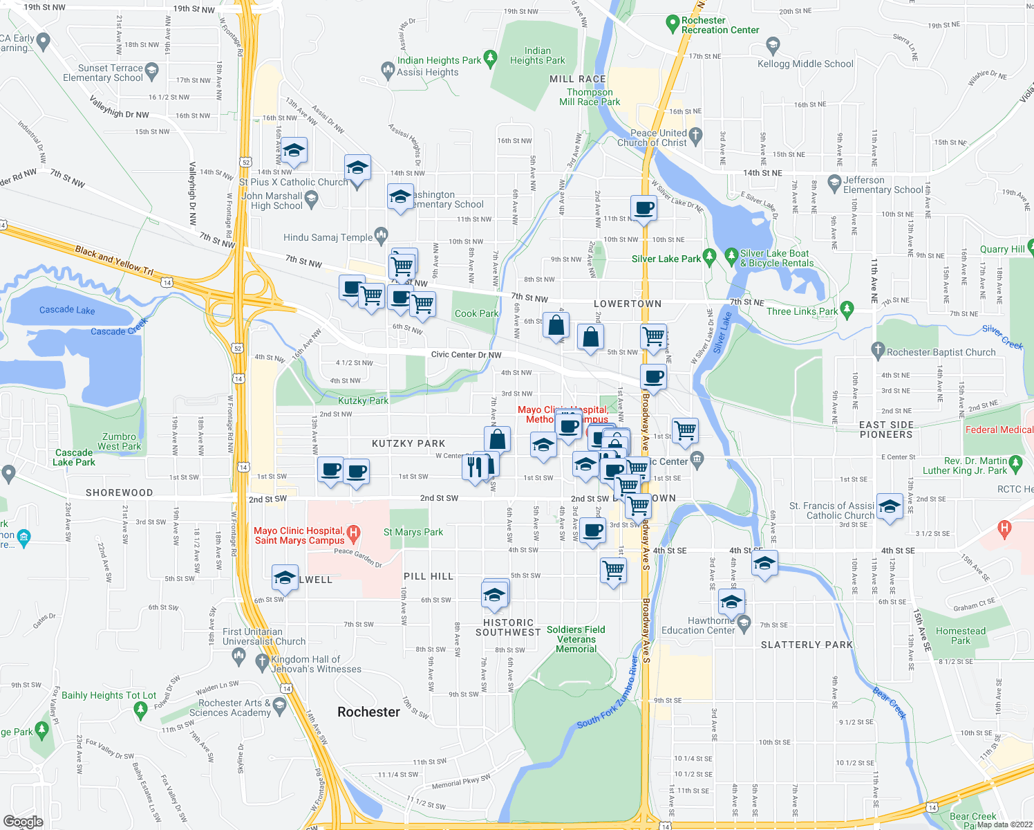 map of restaurants, bars, coffee shops, grocery stores, and more near 2nd Street Northwest & 6th Avenue Northwest in Rochester