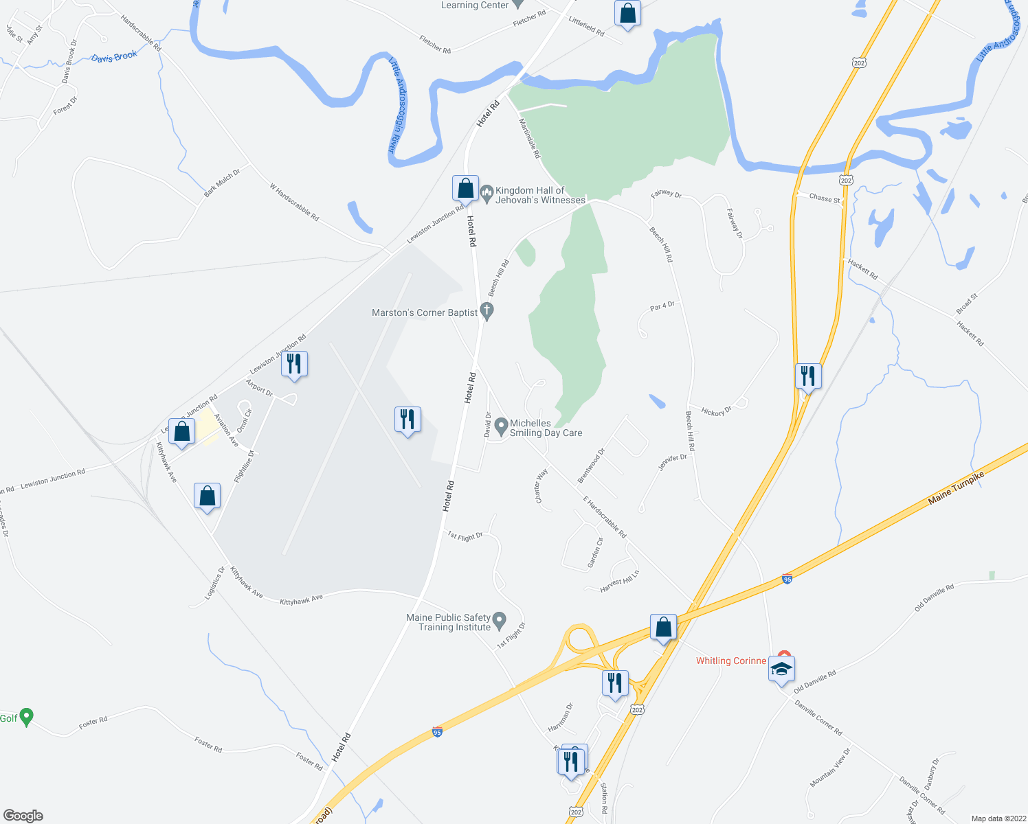 map of restaurants, bars, coffee shops, grocery stores, and more near 74 Country Club Drive in Auburn