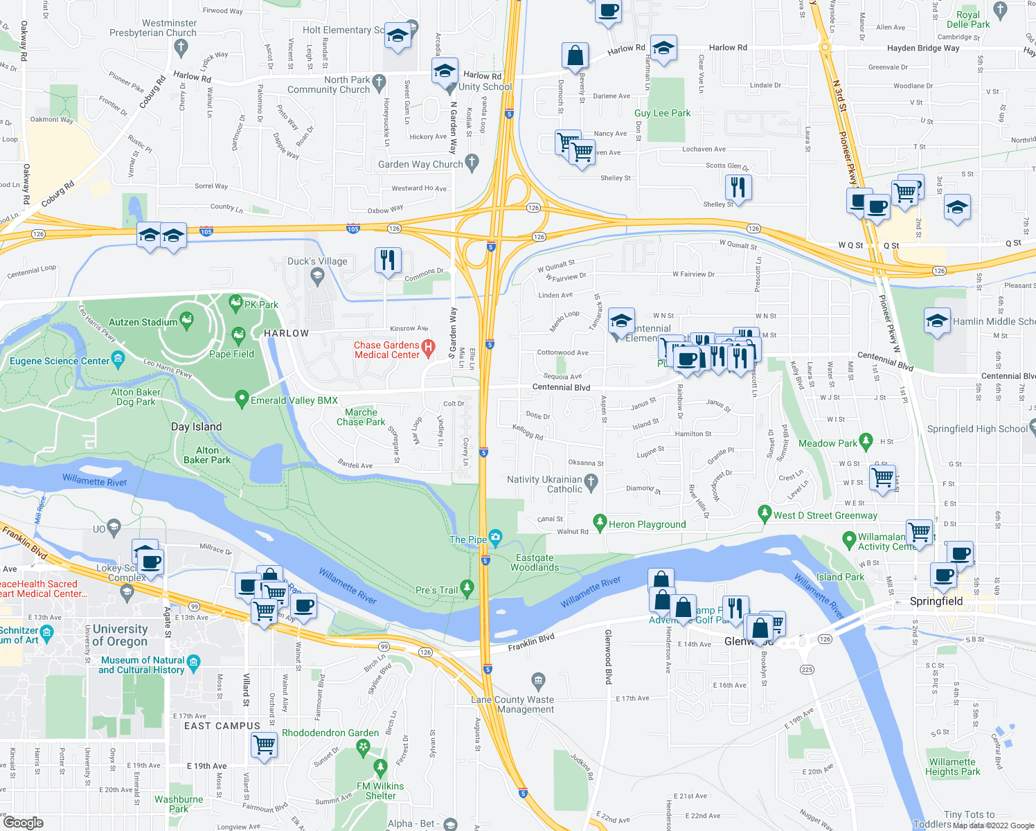 map of restaurants, bars, coffee shops, grocery stores, and more near 960 Anderson Lane in Springfield