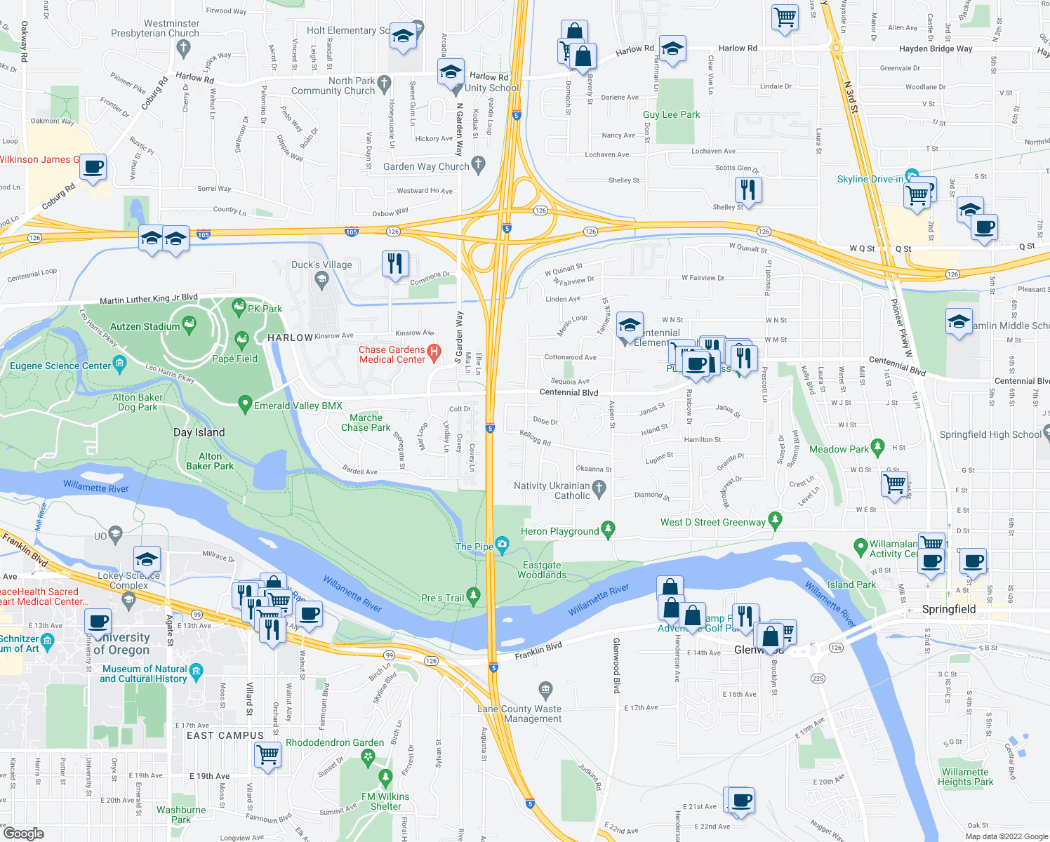 map of restaurants, bars, coffee shops, grocery stores, and more near 824-914 Anderson Lane in Springfield