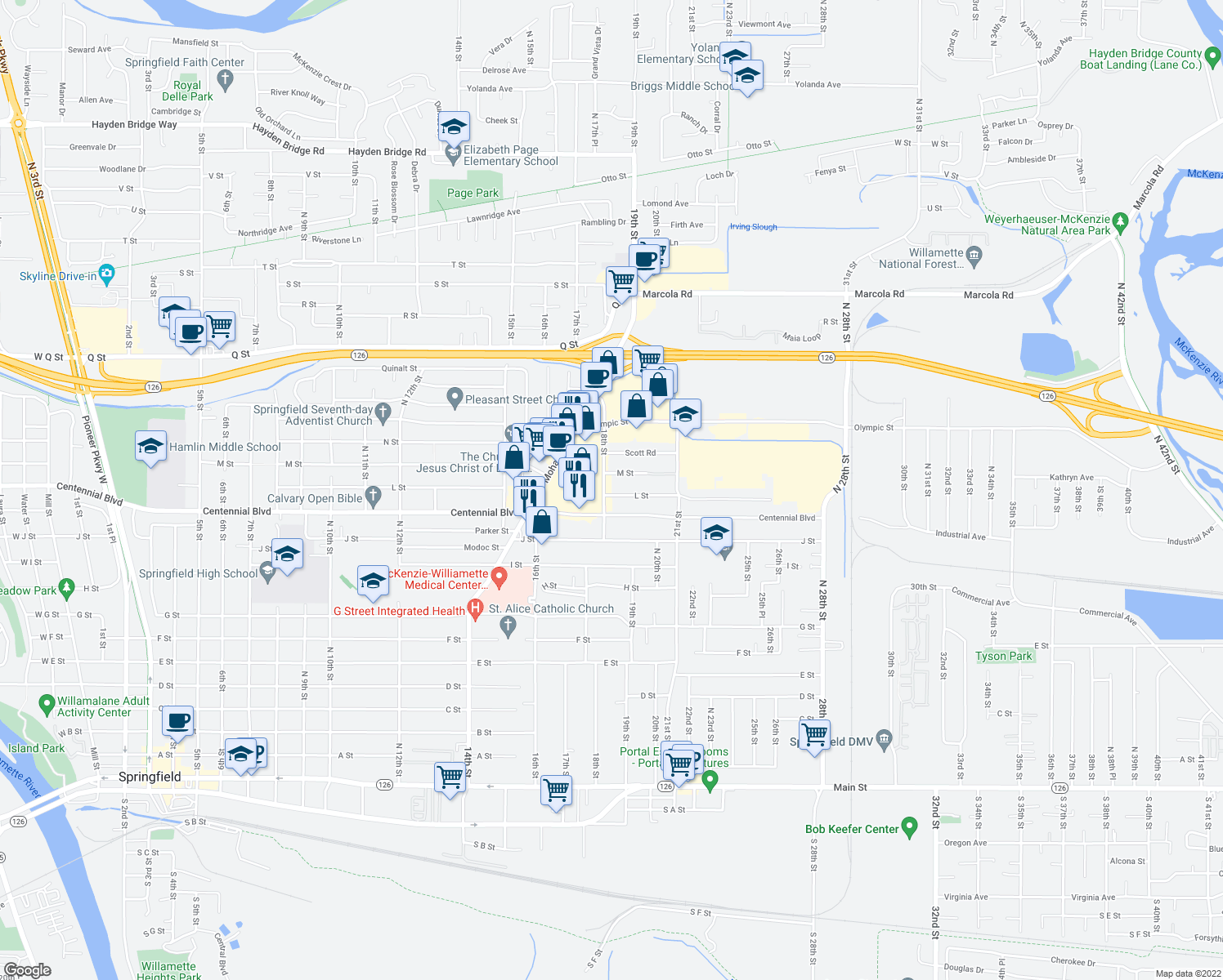 map of restaurants, bars, coffee shops, grocery stores, and more near 1782 Centennial Boulevard in Springfield