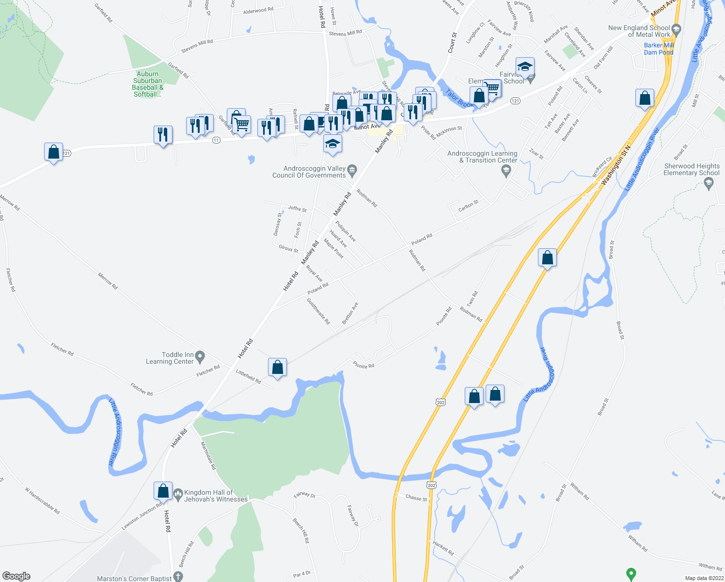 map of restaurants, bars, coffee shops, grocery stores, and more near 574 Poland Road in Auburn