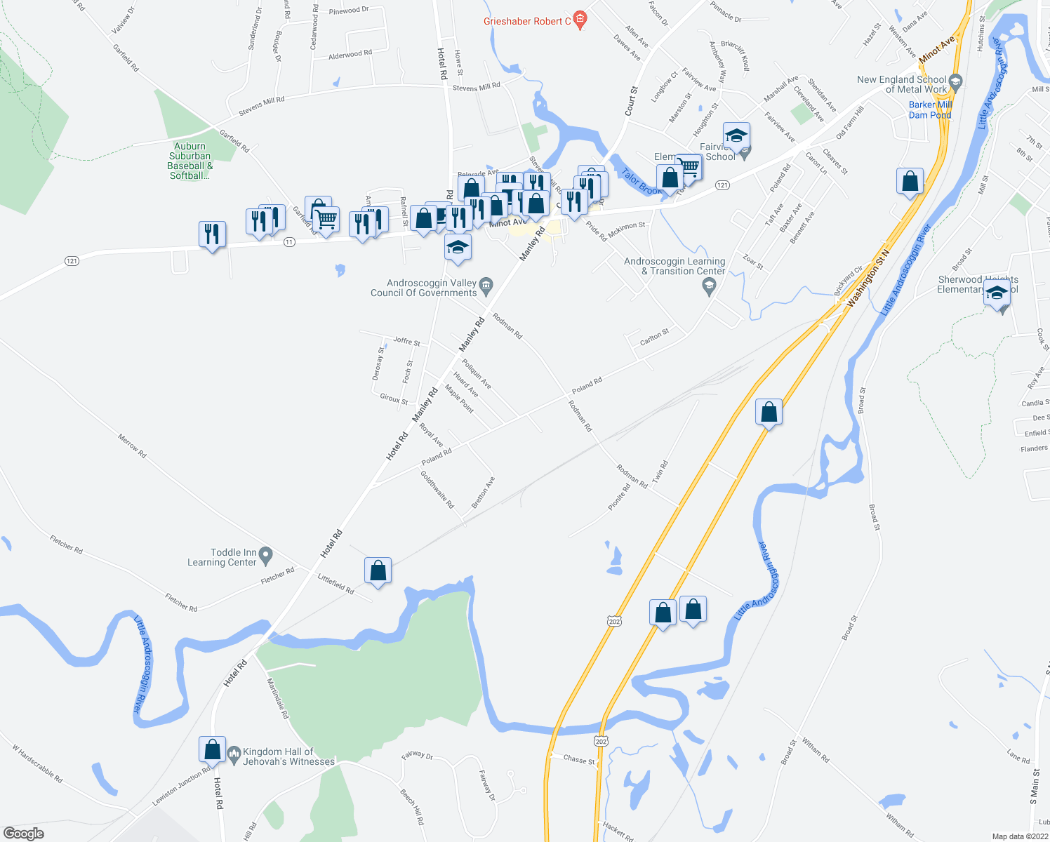 map of restaurants, bars, coffee shops, grocery stores, and more near 5 Rockhill Avenue in Auburn