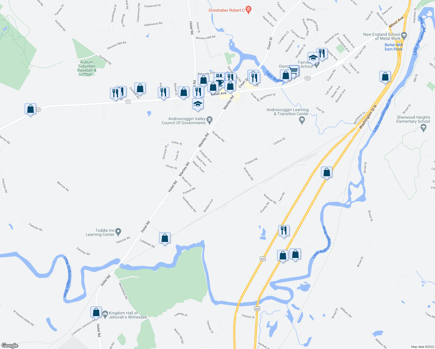 map of restaurants, bars, coffee shops, grocery stores, and more near 539 Poland Road in Auburn