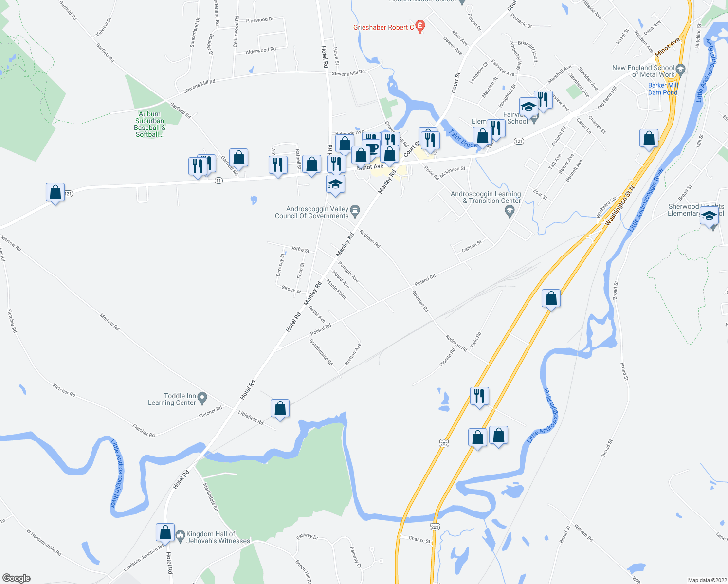 map of restaurants, bars, coffee shops, grocery stores, and more near 28 Poliquin Avenue in Auburn