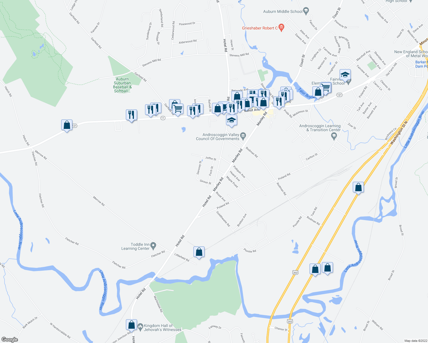 map of restaurants, bars, coffee shops, grocery stores, and more near 1681 Hotel Road in Auburn