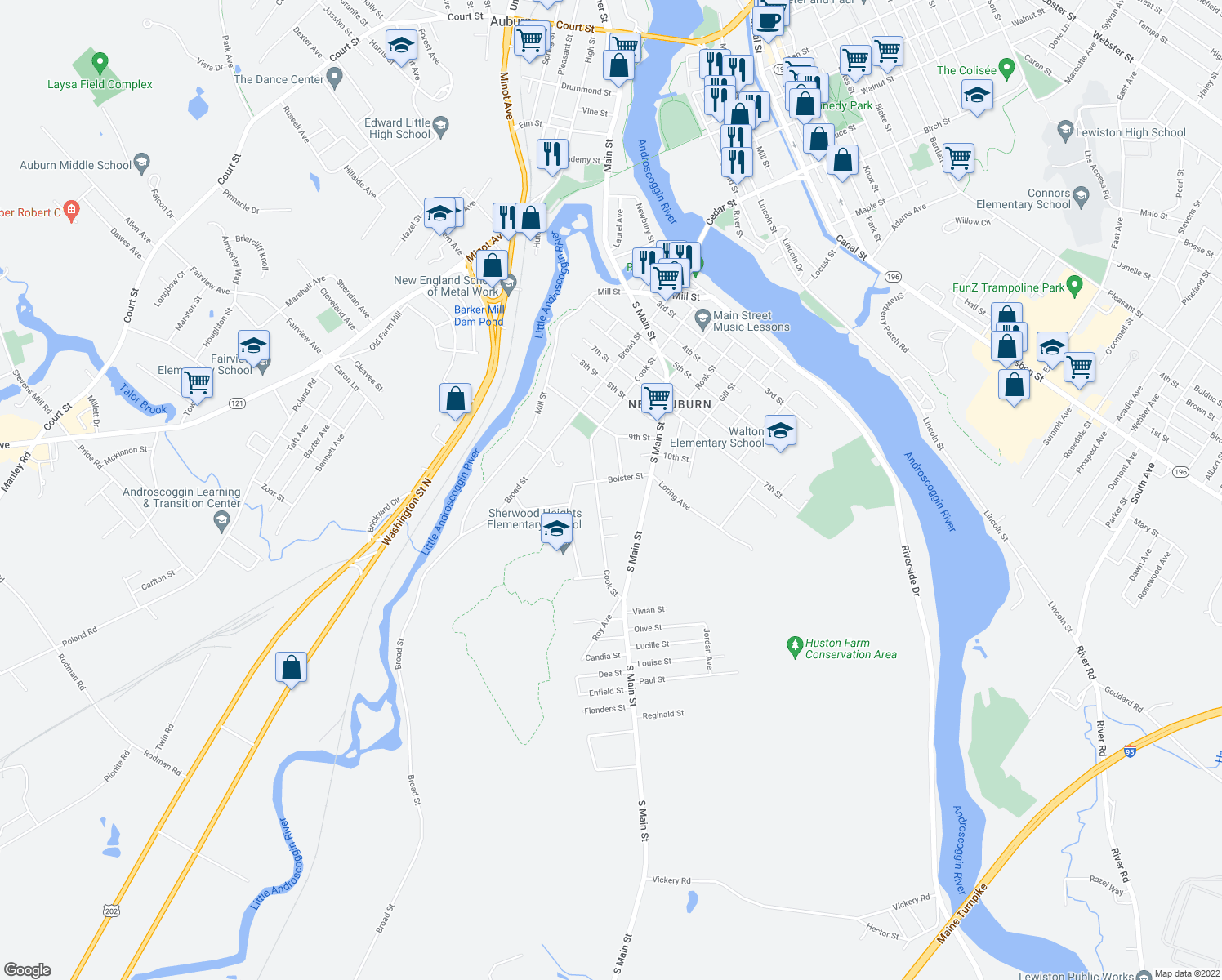 map of restaurants, bars, coffee shops, grocery stores, and more near 178 Cook Street in Auburn