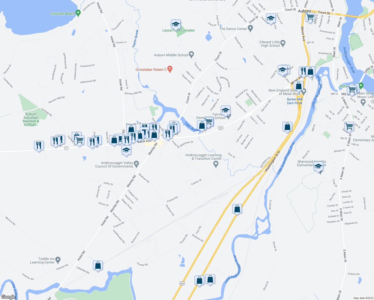 map of restaurants, bars, coffee shops, grocery stores, and more near 25 Dunham Street in Auburn