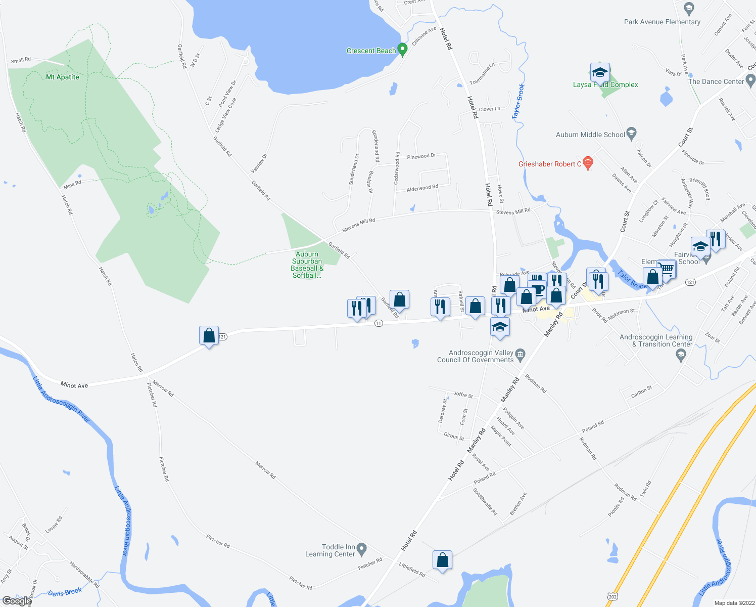 map of restaurants, bars, coffee shops, grocery stores, and more near 10 Sterling Road in Auburn