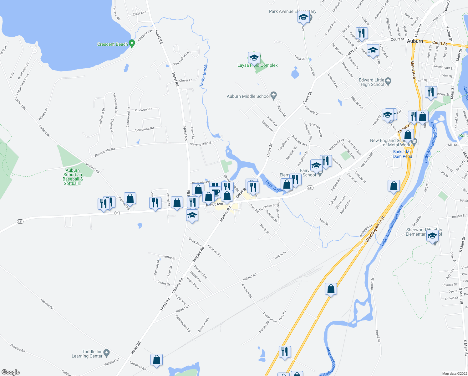 map of restaurants, bars, coffee shops, grocery stores, and more near 66 Stevens Mill Road in Auburn