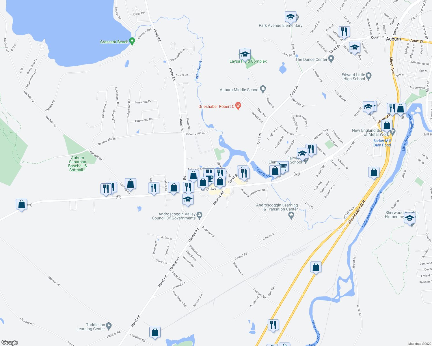 map of restaurants, bars, coffee shops, grocery stores, and more near 75 Millbrook Lane in Auburn