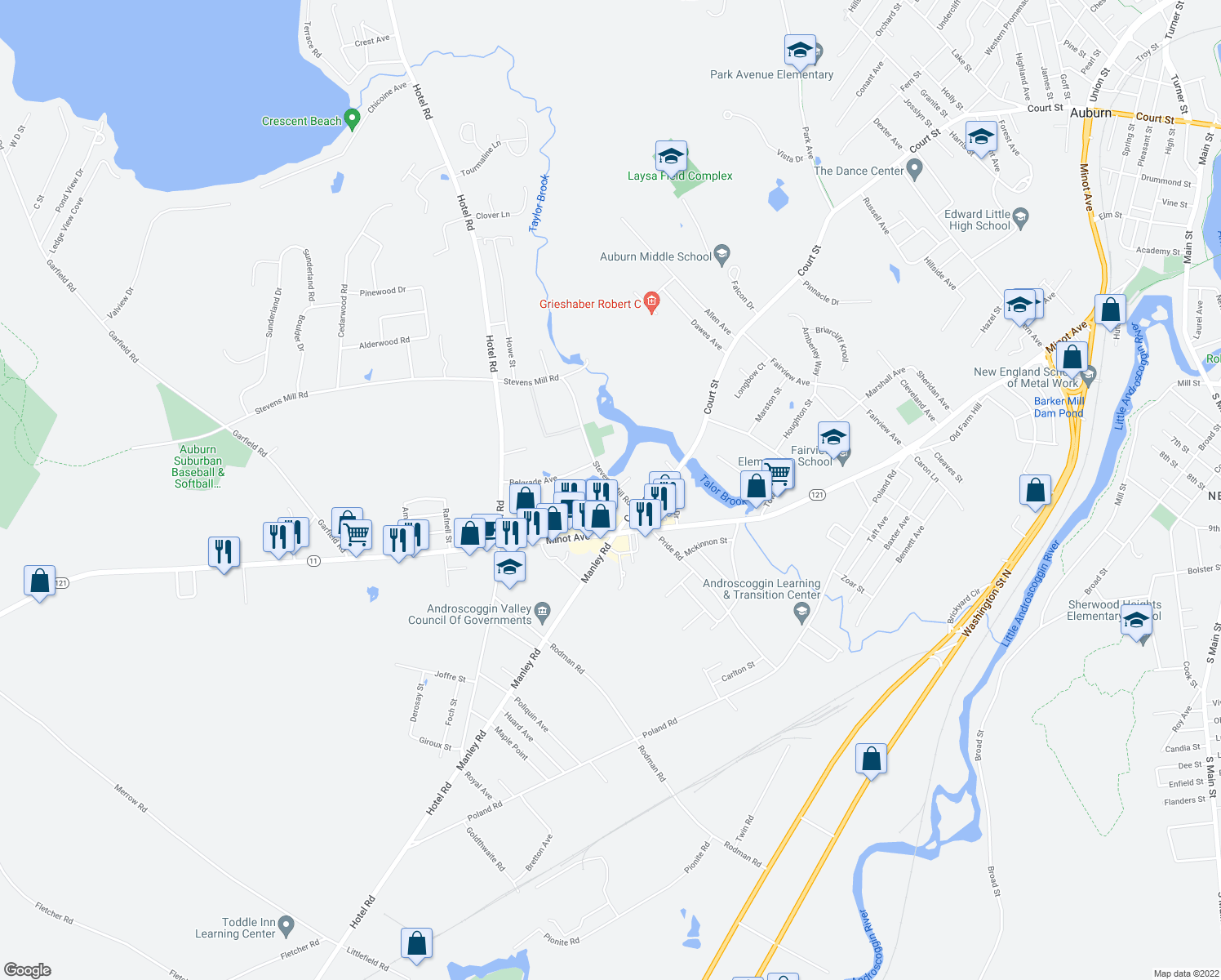 map of restaurants, bars, coffee shops, grocery stores, and more near 24 Millbrook Lane in Auburn