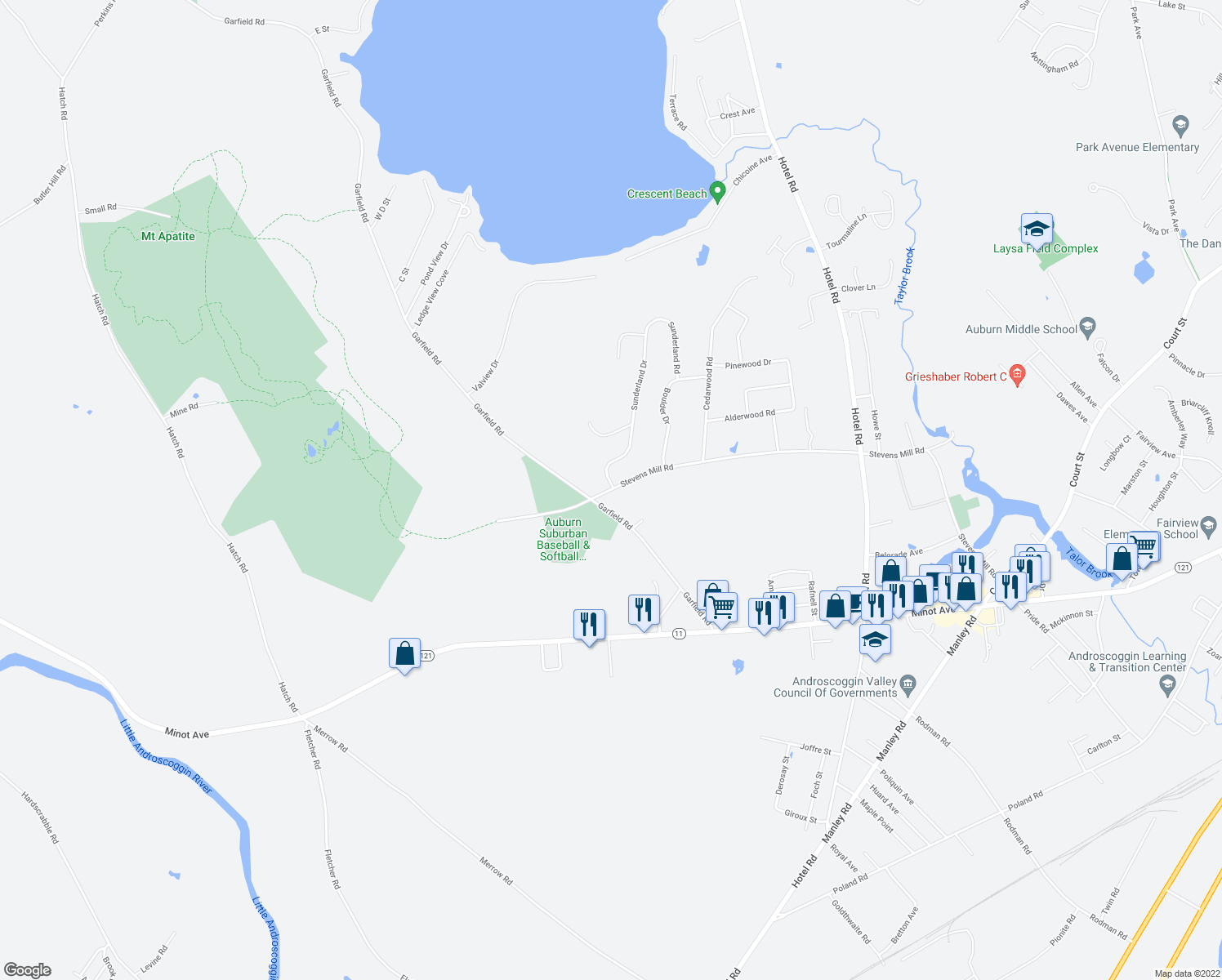 map of restaurants, bars, coffee shops, grocery stores, and more near Stevens Mill Road in Auburn