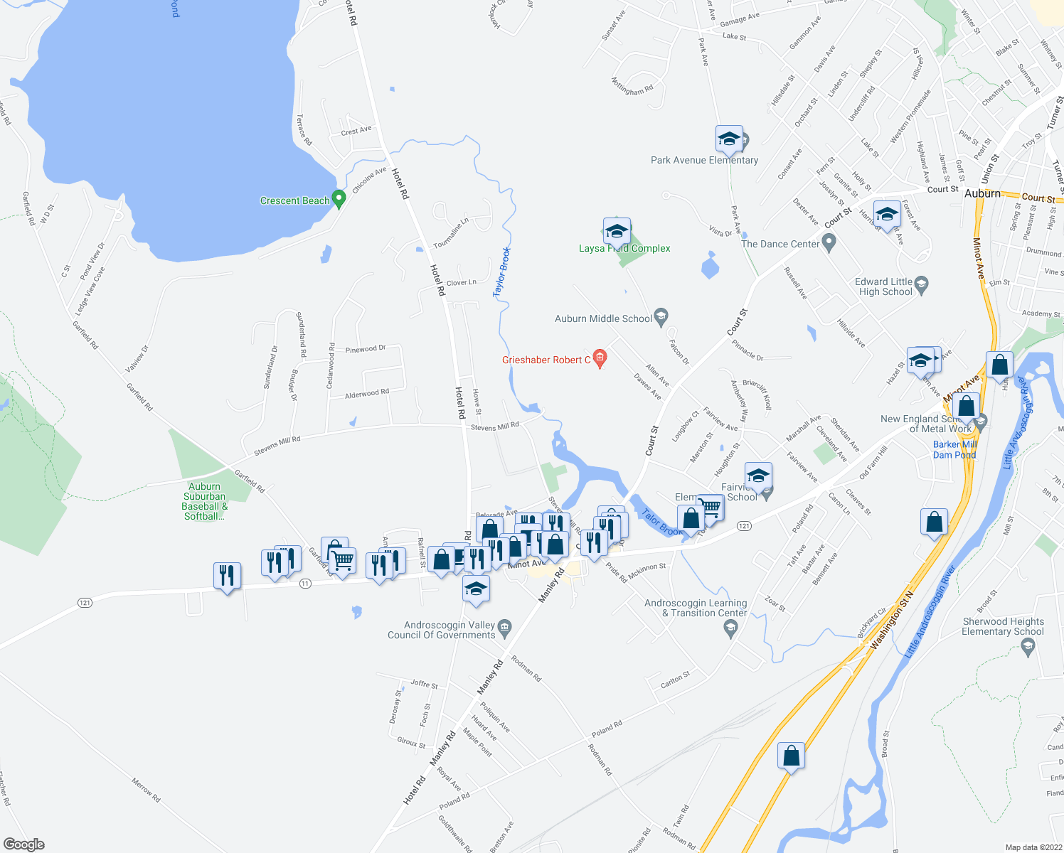 map of restaurants, bars, coffee shops, grocery stores, and more near 199 Stevens Mill Road in Auburn