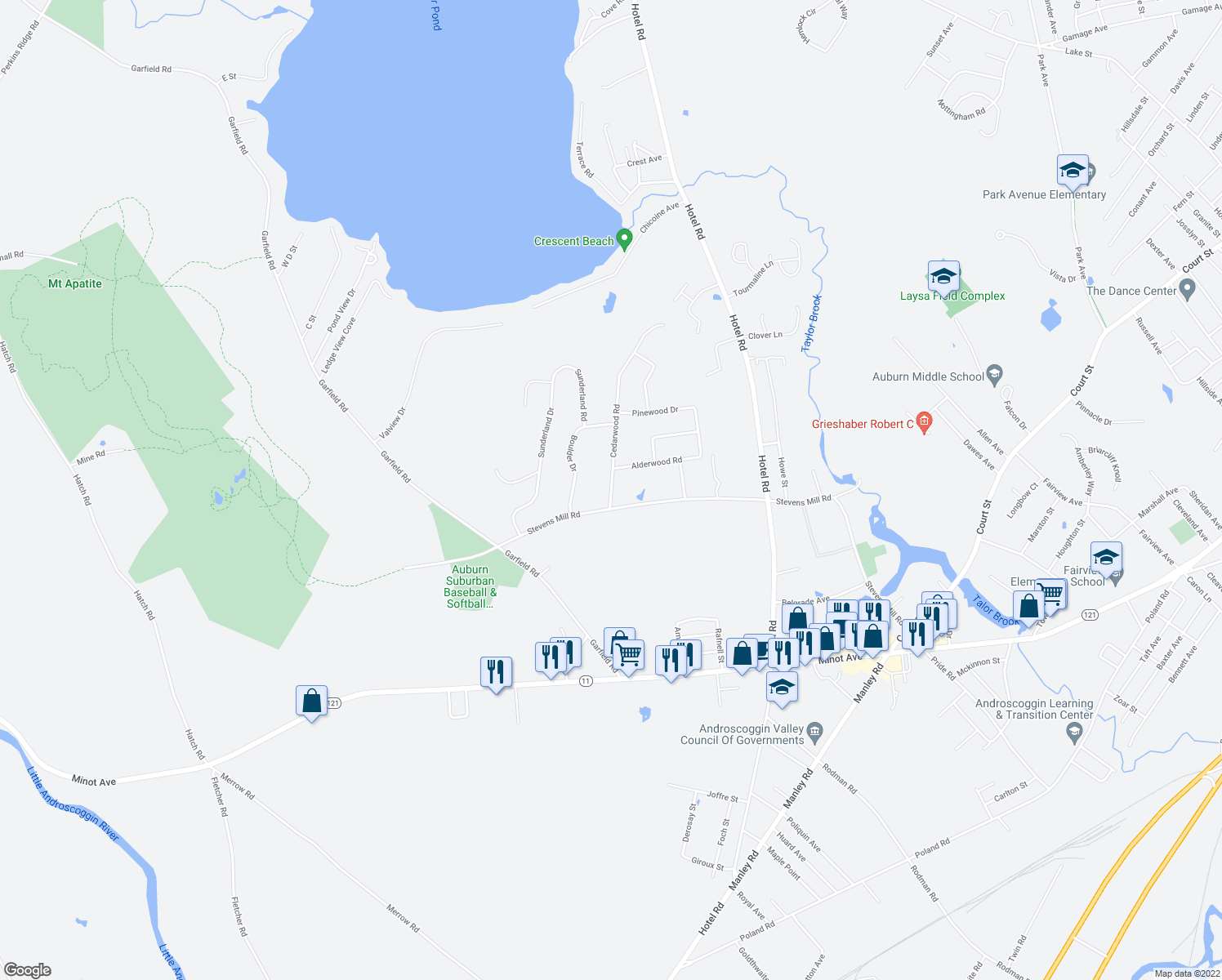 map of restaurants, bars, coffee shops, grocery stores, and more near Washington Street in Auburn