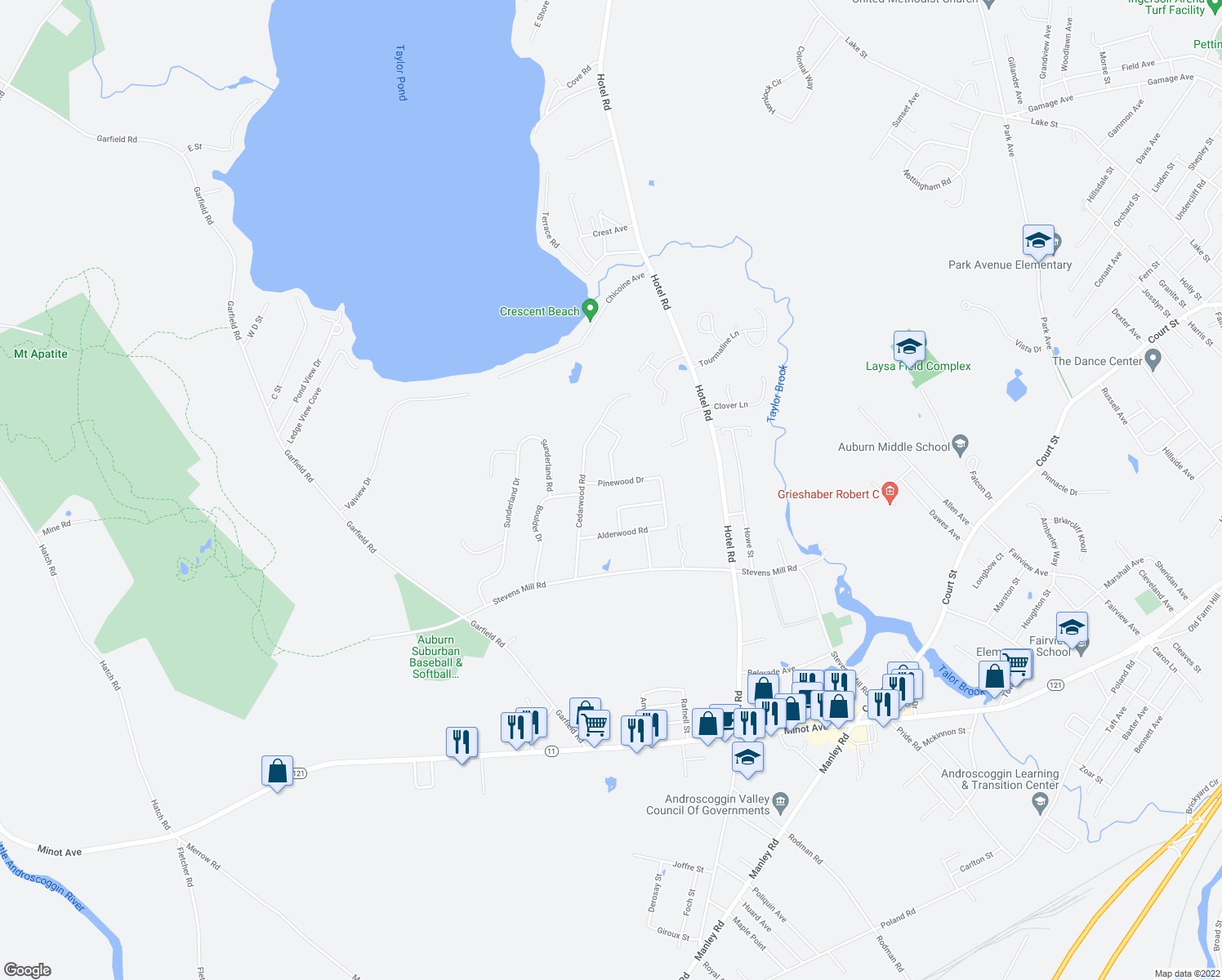 map of restaurants, bars, coffee shops, grocery stores, and more near 33 Pinewood Drive in Auburn