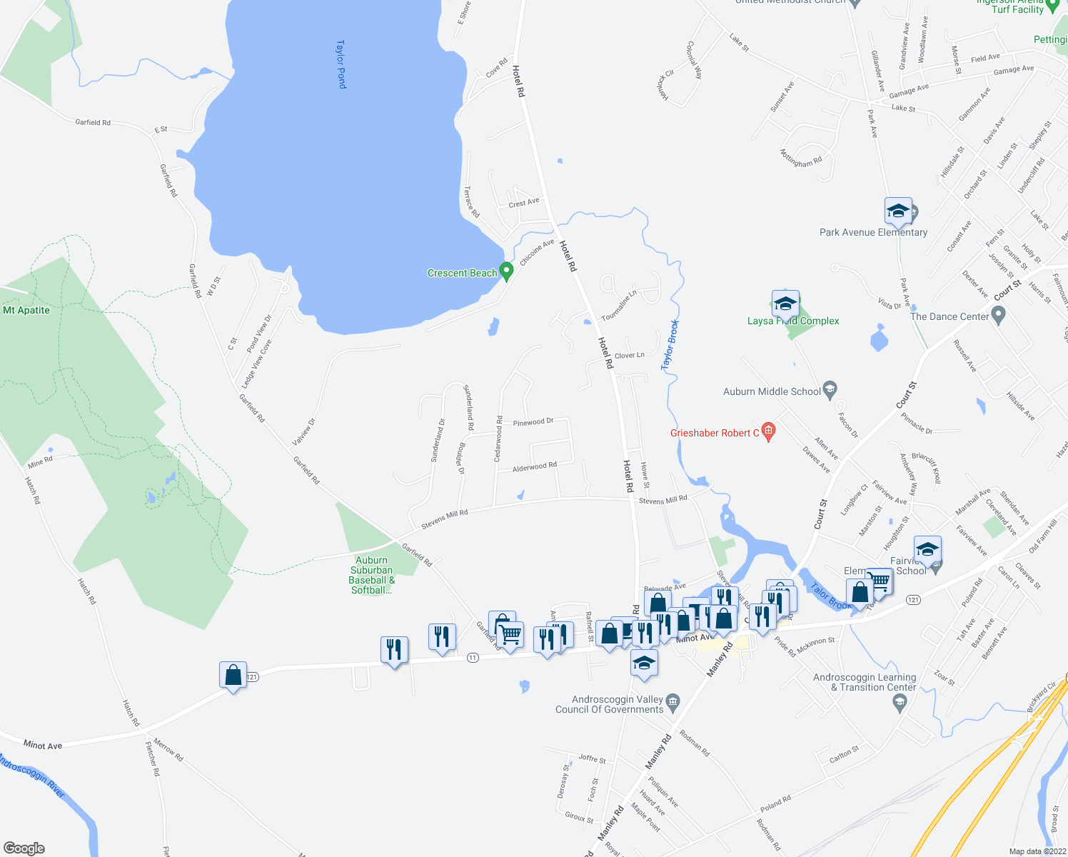 map of restaurants, bars, coffee shops, grocery stores, and more near 45 Pinewood Drive in Auburn