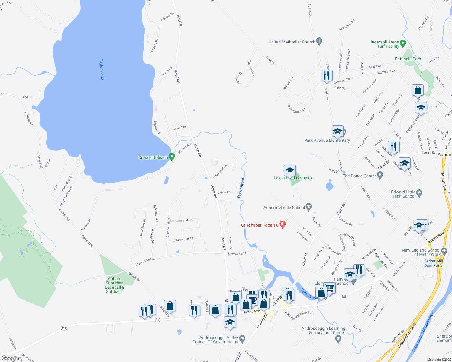 map of restaurants, bars, coffee shops, grocery stores, and more near 19 Brookdale Lane in Auburn