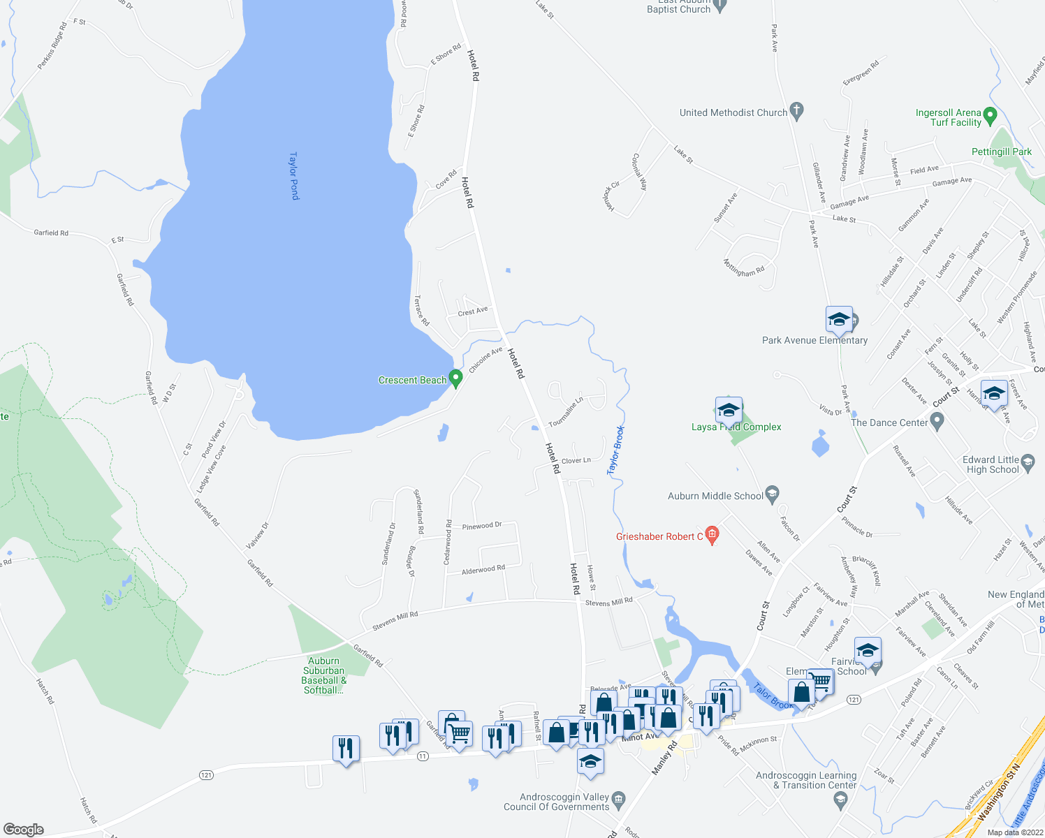 map of restaurants, bars, coffee shops, grocery stores, and more near 19 Old Carriage Road in Auburn