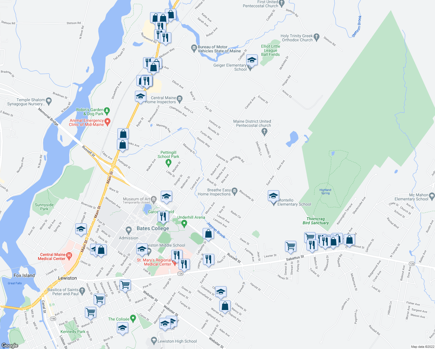 map of restaurants, bars, coffee shops, grocery stores, and more near 14 Martha Avenue in Lewiston