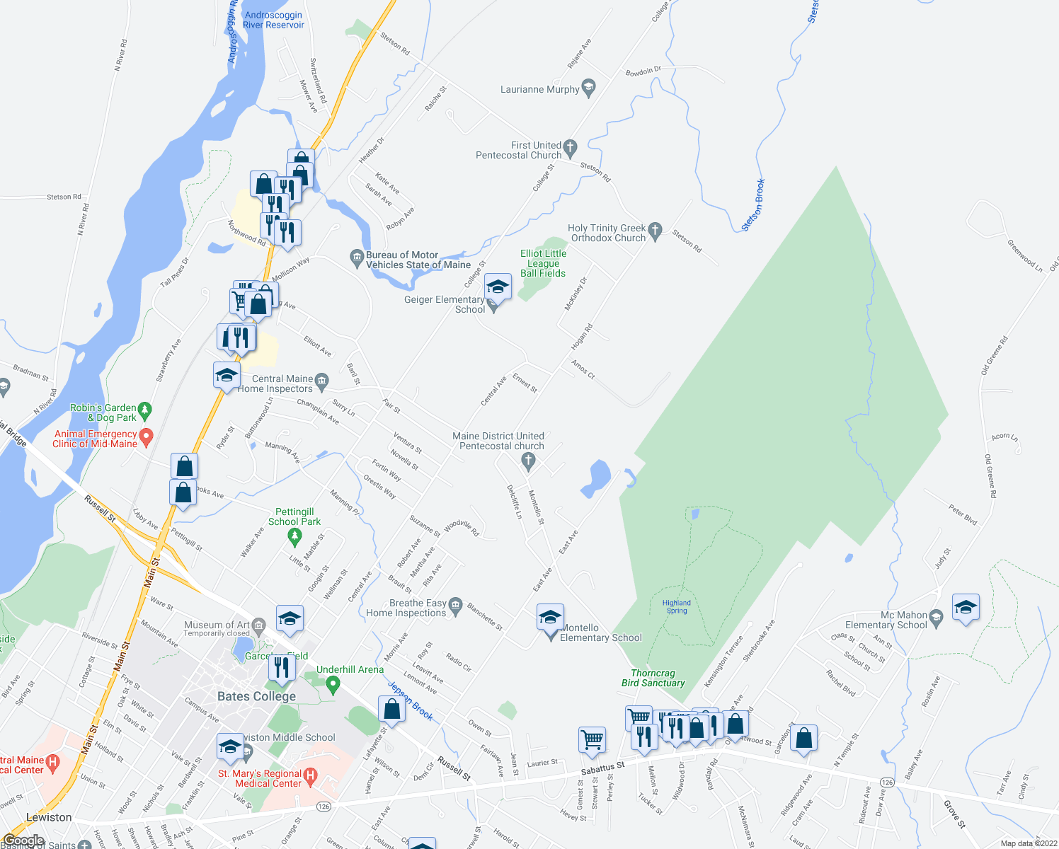 map of restaurants, bars, coffee shops, grocery stores, and more near 21 Hogan Road in Lewiston