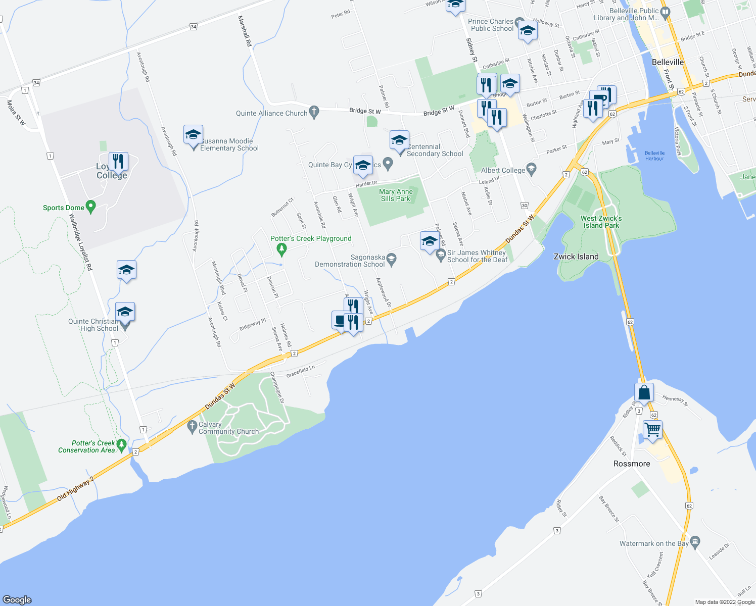 map of restaurants, bars, coffee shops, grocery stores, and more near 4 Applewood Drive in Belleville