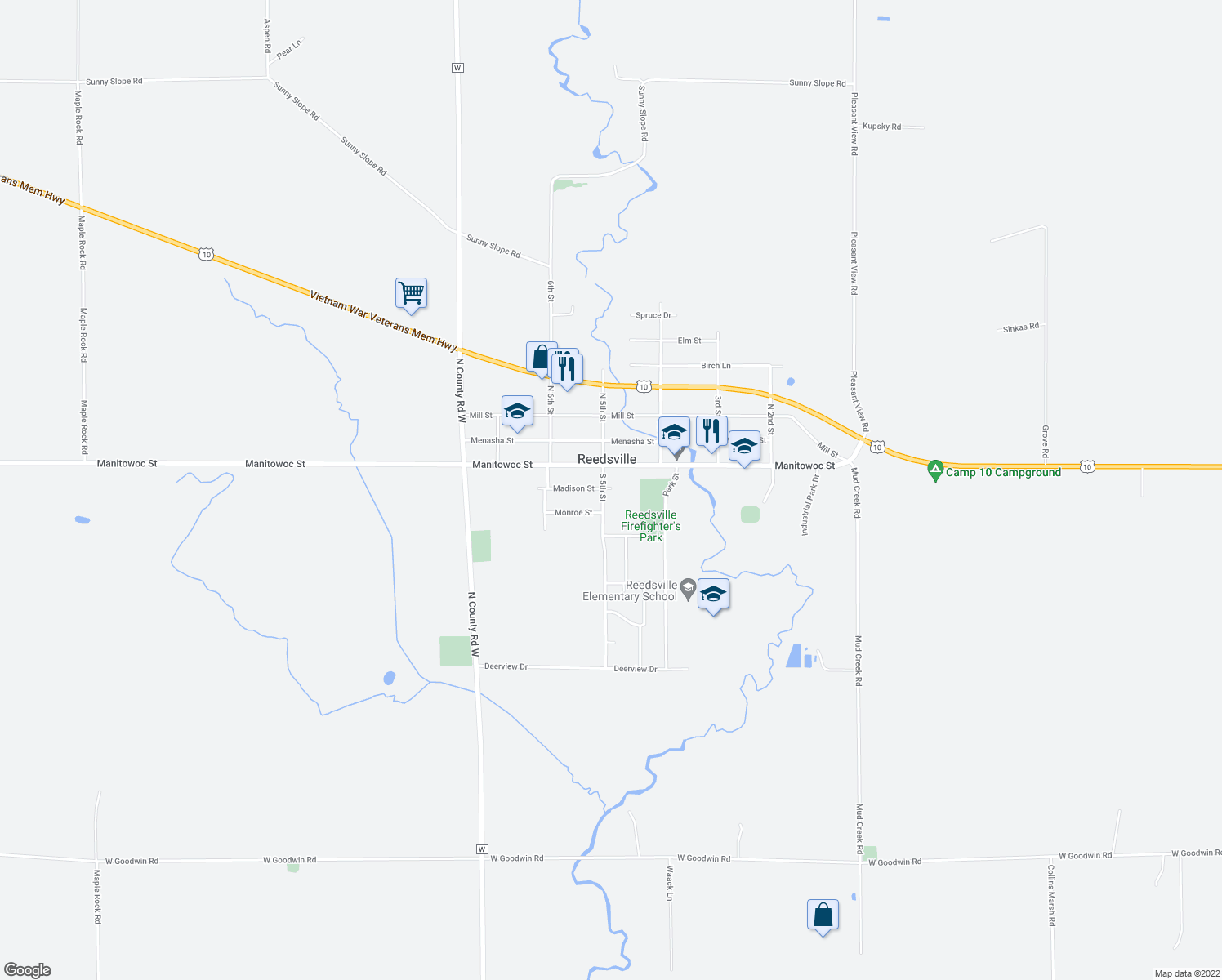 map of restaurants, bars, coffee shops, grocery stores, and more near 502 Madison Street in Reedsville