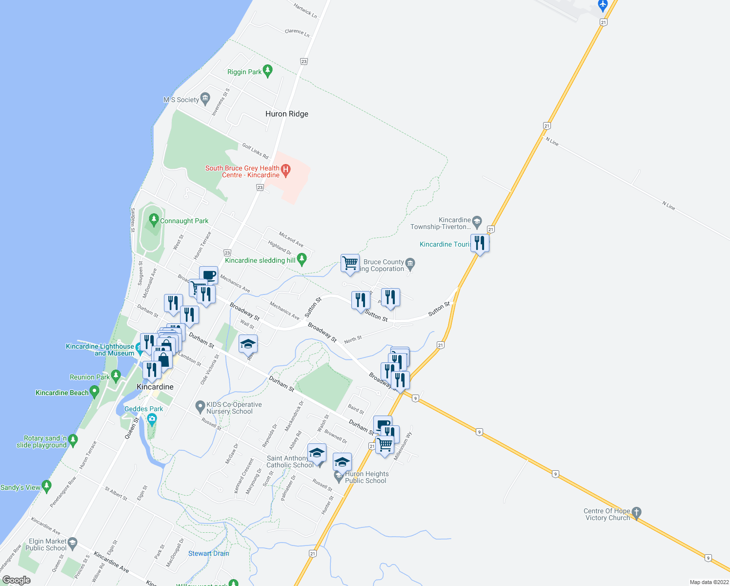 map of restaurants, bars, coffee shops, grocery stores, and more near 550 Philip Place in Kincardine