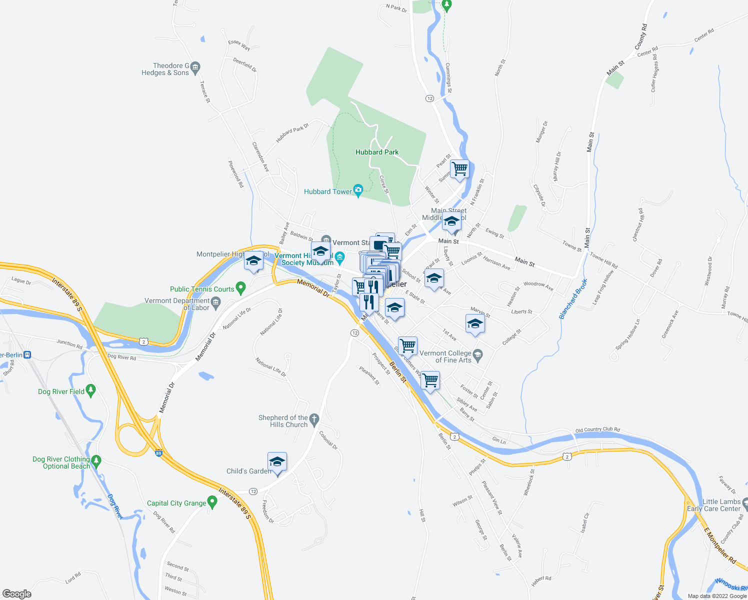 map of restaurants, bars, coffee shops, grocery stores, and more near 26 Main Street in Montpelier