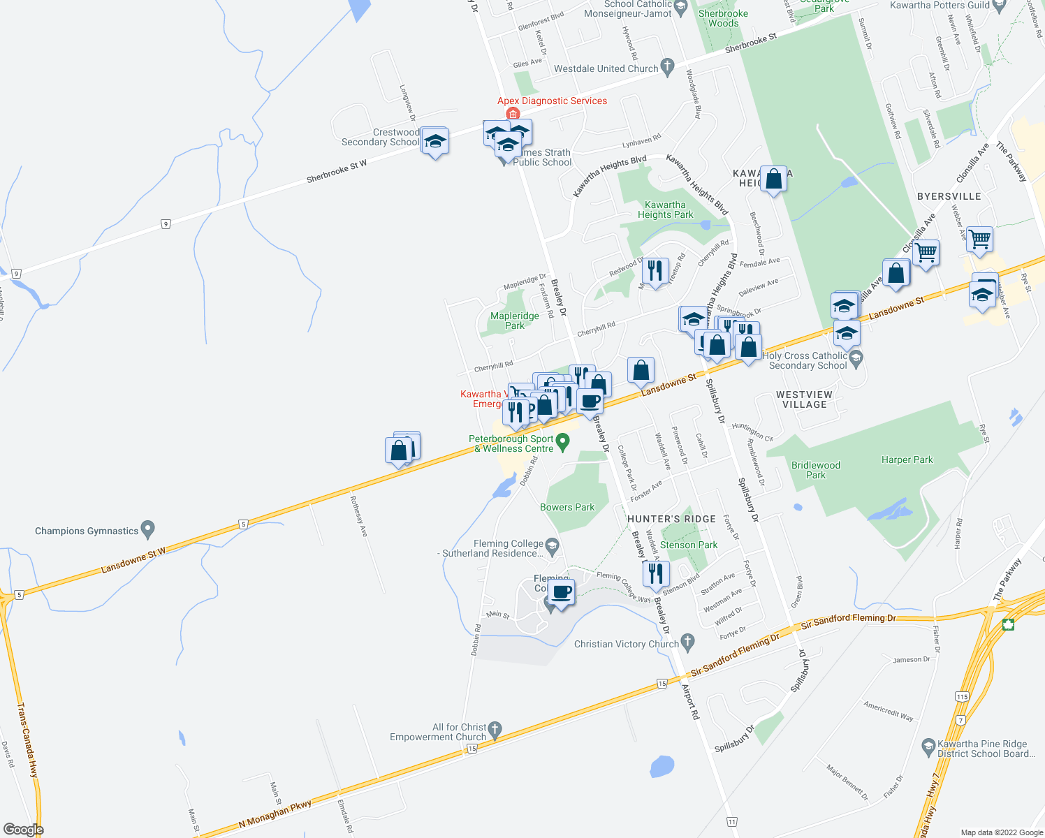 map of restaurants, bars, coffee shops, grocery stores, and more near 1870 Lansdowne Street in Peterborough