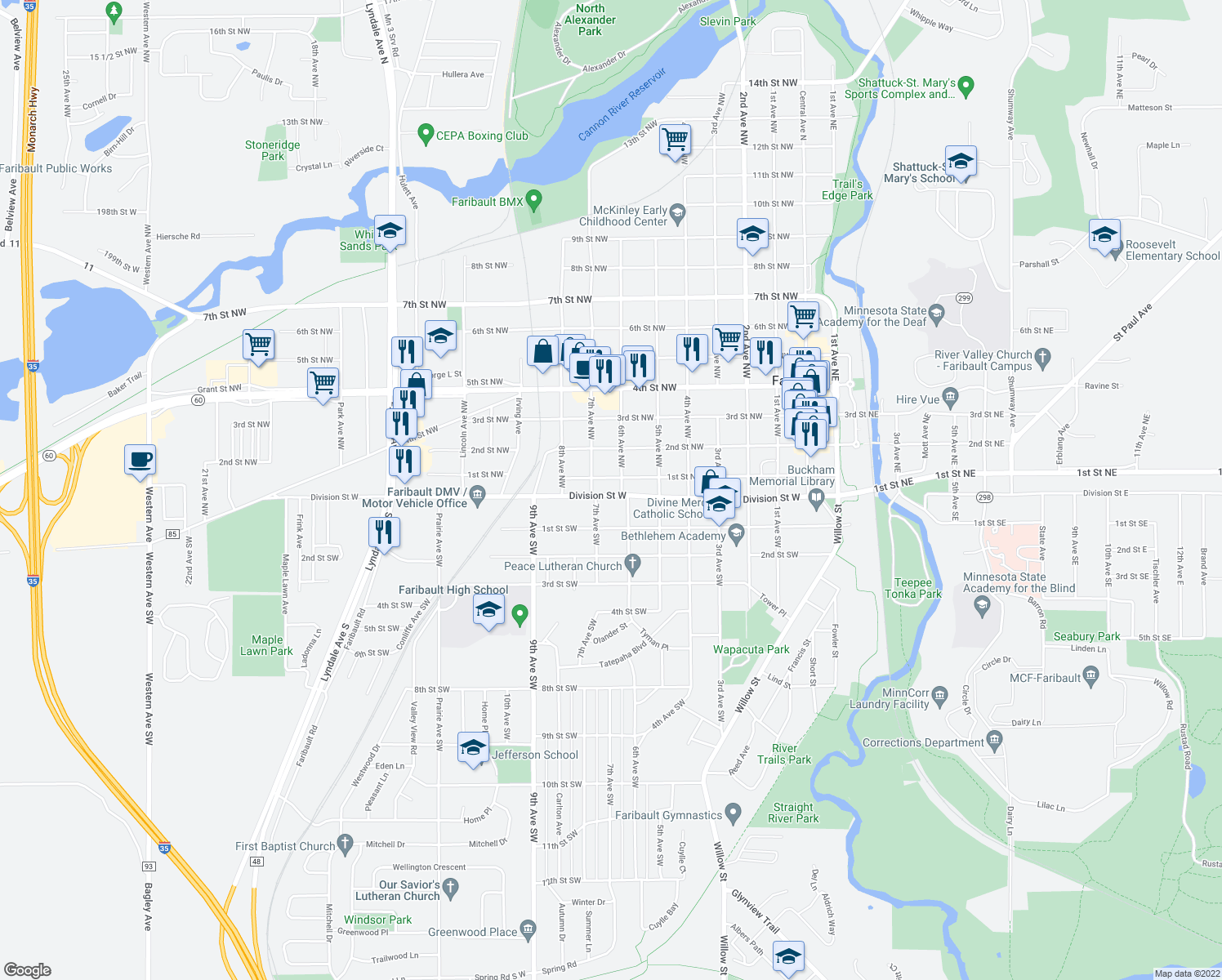 map of restaurants, bars, coffee shops, grocery stores, and more near 625 Division Street West in Faribault