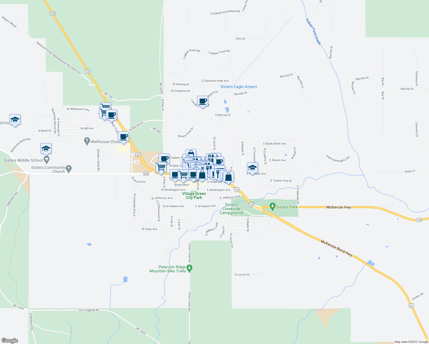 map of restaurants, bars, coffee shops, grocery stores, and more near 411 East Cascade Avenue in Sisters