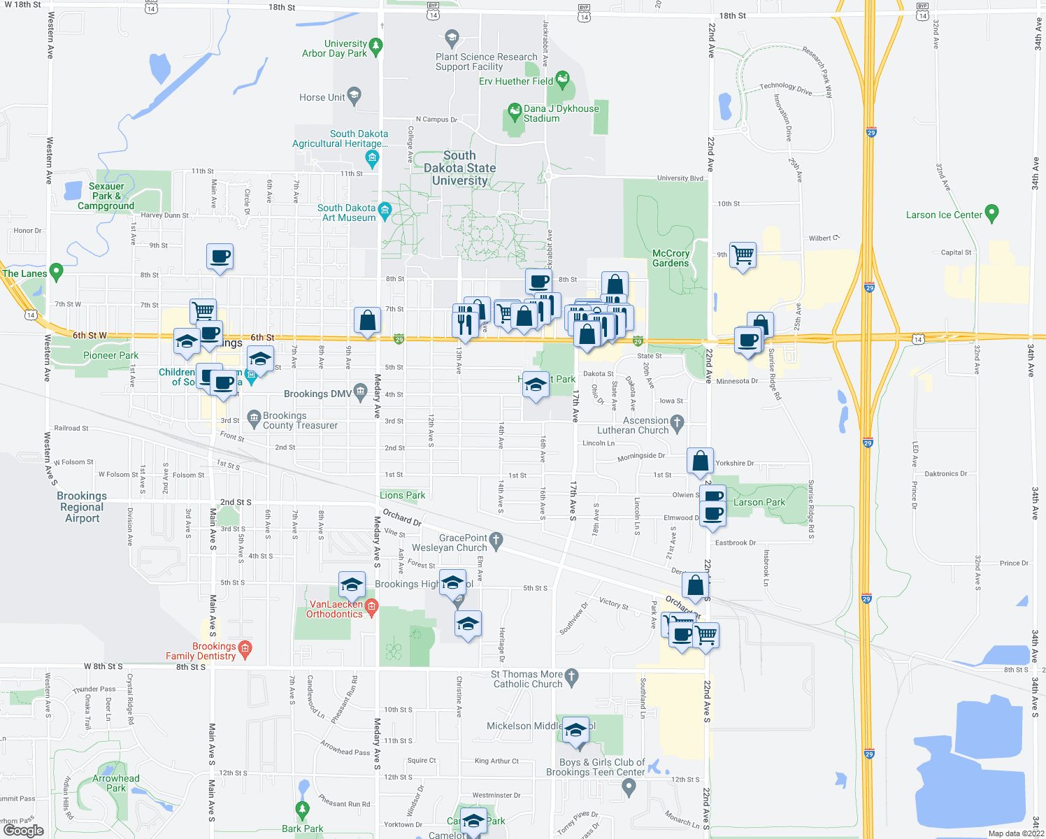 map of restaurants, bars, coffee shops, grocery stores, and more near 317 15th Avenue in Brookings