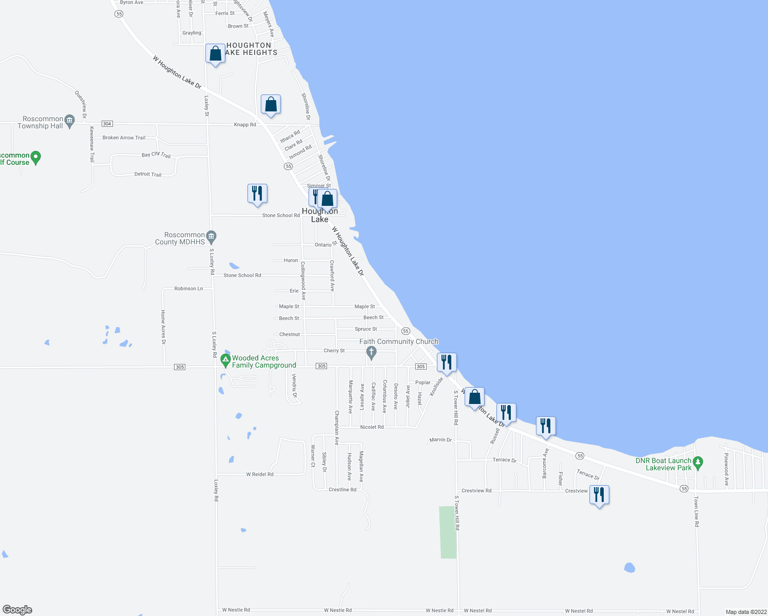 map of restaurants, bars, coffee shops, grocery stores, and more near 6330 West Houghton Lake Drive in Houghton Lake