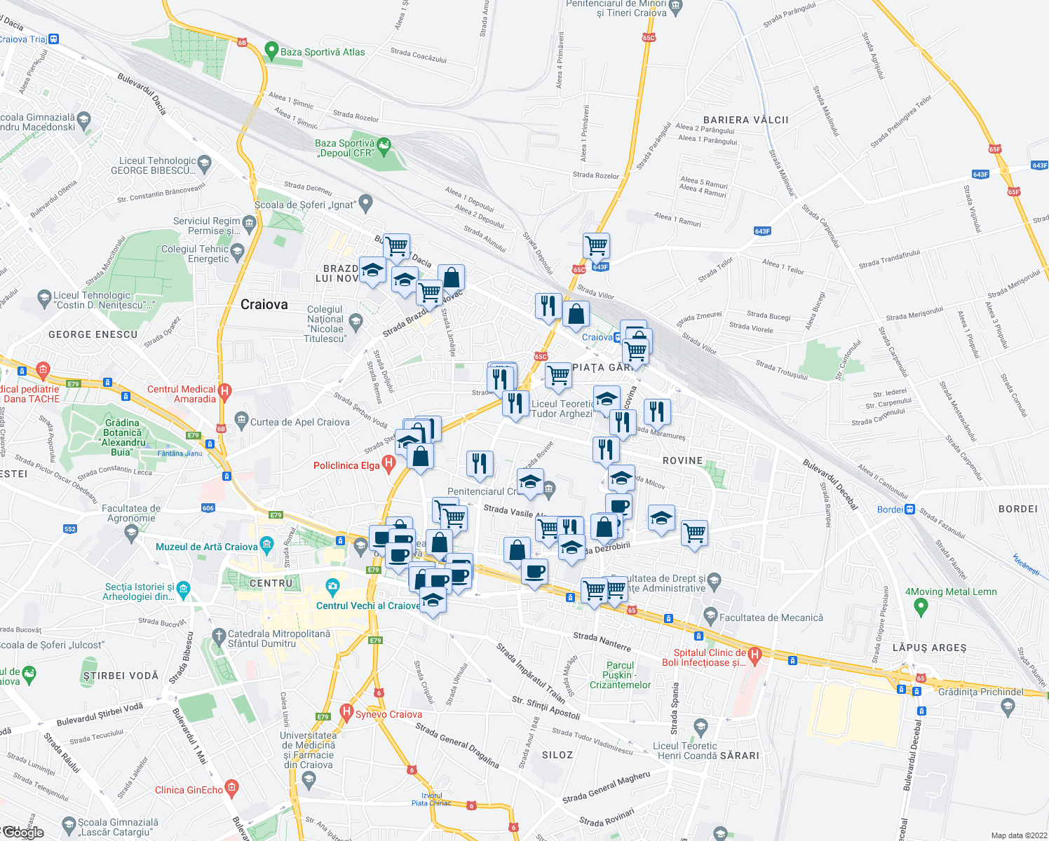 map of restaurants, bars, coffee shops, grocery stores, and more near Bulevardul Nicolae Iorga in Craiova