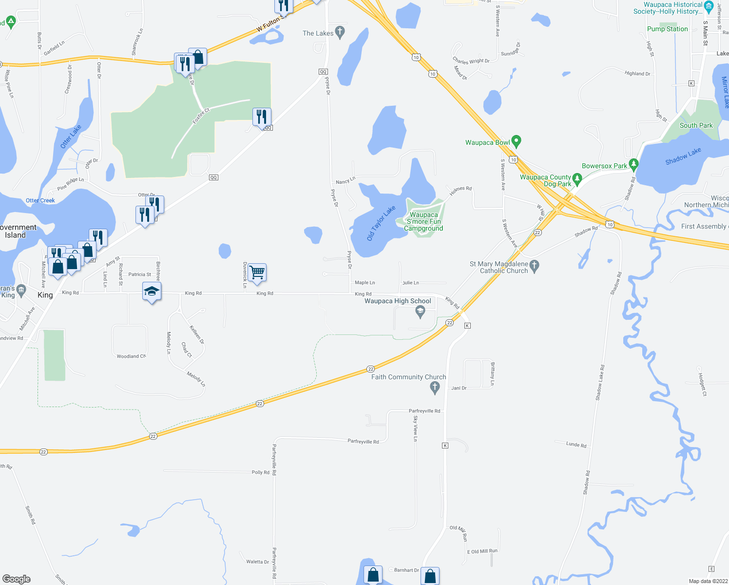 map of restaurants, bars, coffee shops, grocery stores, and more near E2239-E2249 King Road in Waupaca