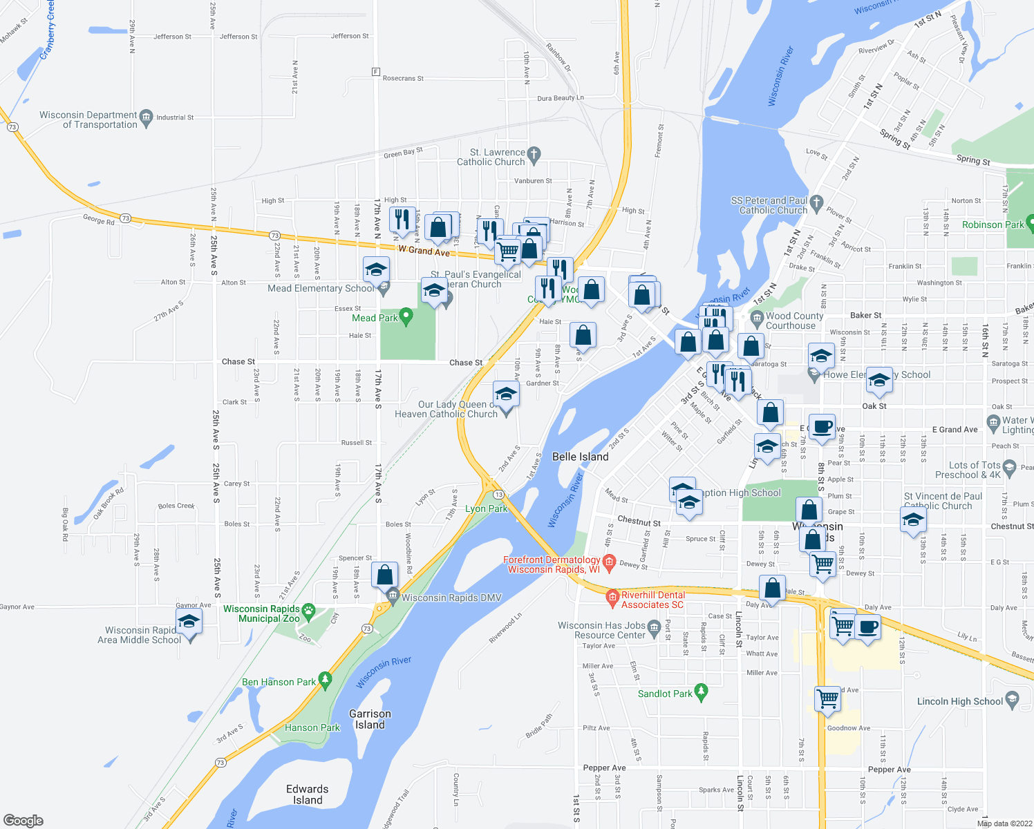 map of restaurants, bars, coffee shops, grocery stores, and more near 640 10th Avenue South in Wisconsin Rapids