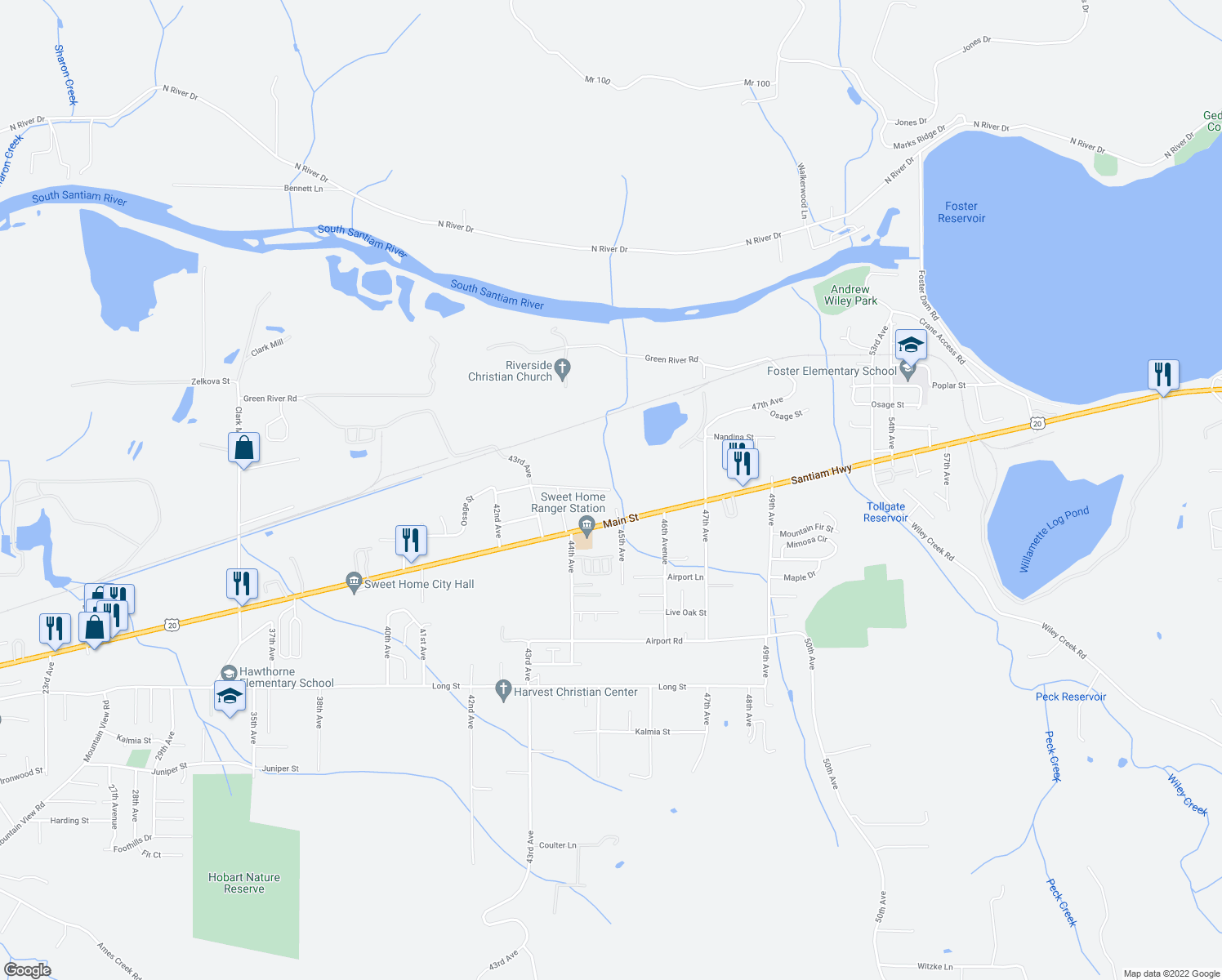 map of restaurants, bars, coffee shops, grocery stores, and more near Osage Street in Sweet Home