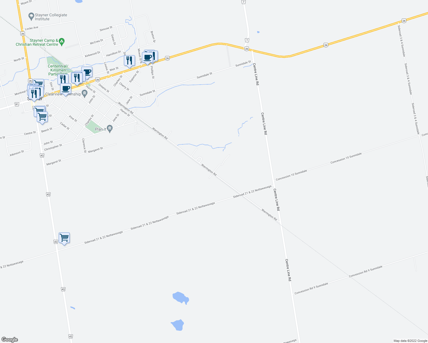 map of restaurants, bars, coffee shops, grocery stores, and more near 100-124 Fletcher Street in Stayner
