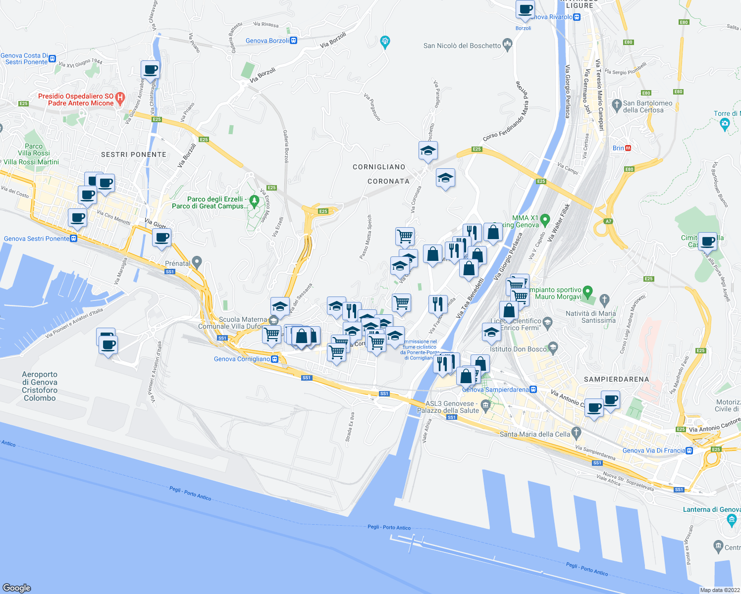 map of restaurants, bars, coffee shops, grocery stores, and more near 98 Via Guido Agosti in Genova