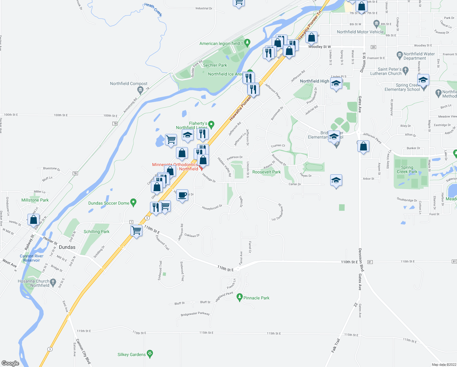 map of restaurants, bars, coffee shops, grocery stores, and more near 2215 Hidden Valley Road in Northfield